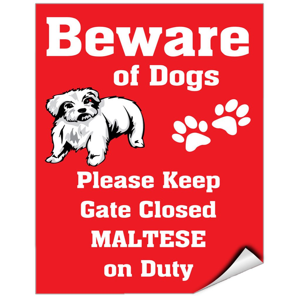 Beware Of Maltese Dog On Duty Vinyl LABEL DECAL STICKER 9 inches x 12 inches by Fastasticdeals
