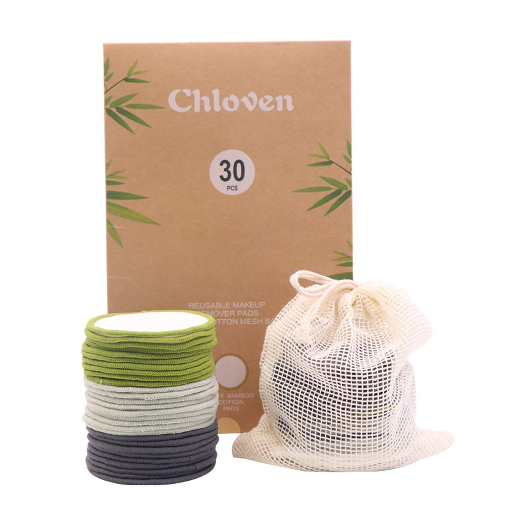 Chloven 30 Pack Organic Reusable Makeup Remover Pads - Bamboo Reusable Cotton Rounds for Toner, Washable Eco-Friendly Pads for all Skin Types with Cotton Laundry Bag