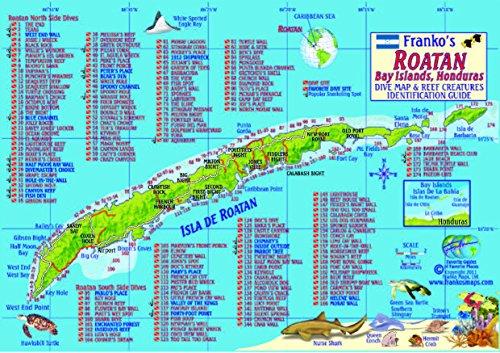 Honduras roatan dive sites and reef creatures map - Roatan dive sites ...