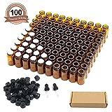 Fomei 100 Packs Oil Bottles for Essential Oils 2 ml (5/8 Dram) Amber...