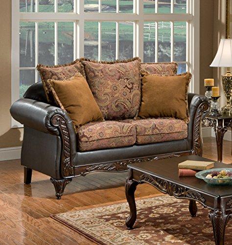 Chelsea Home Furniture Arlene Loveseat, Silas Raisin/Bi-Cast Brown
