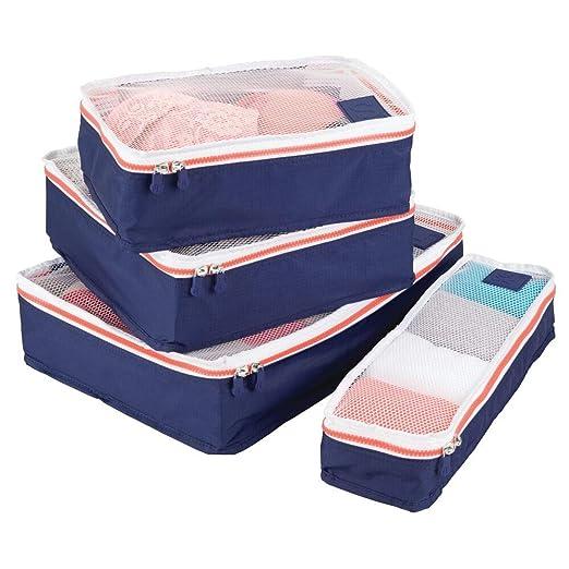 mDesign Juego de 4 cajas de almacenamiento con cremallera – Bolsas de tela o bolsas de viaje para maletas o bolsos – Bolsas con cierre y malla de ...
