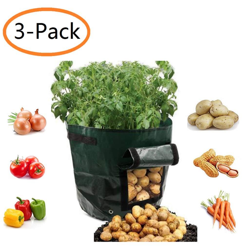 Potato Grow Bags 7 Gallon Garden Vegetables Planter Bags with Handles and Access Flap for Planting Potato Carrot Onion Taro Radish Peanut,3-Pack
