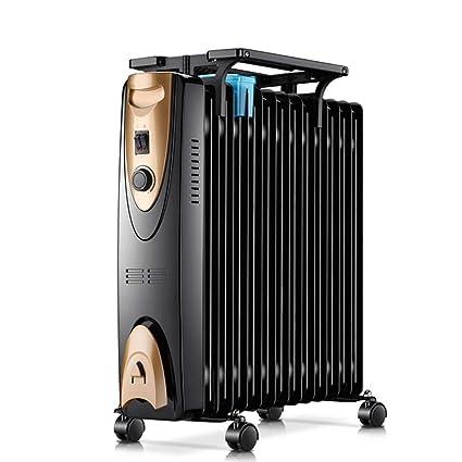 Lxn Radiador Lleno Aceite mecánico Negro, Mini termóstato eléctrico portátil del Sitio del Calentador 2000W