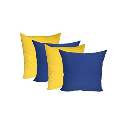 "Resort Spa Home Decor Set of 4 - Indoor/Outdoor 20"" Square Decorative Throw/Toss Pillows - 2 Solid Yellow & 2 Solid Royal Blue: Home & Kitchen"