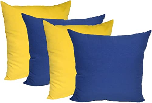 RSH DECOR Set of 4 Indoor Outdoor 17 x 17 Square Decorative Accent Throw Toss Pillows – 2 Solid Yellow 2 Solid Royal Cobalt Blue