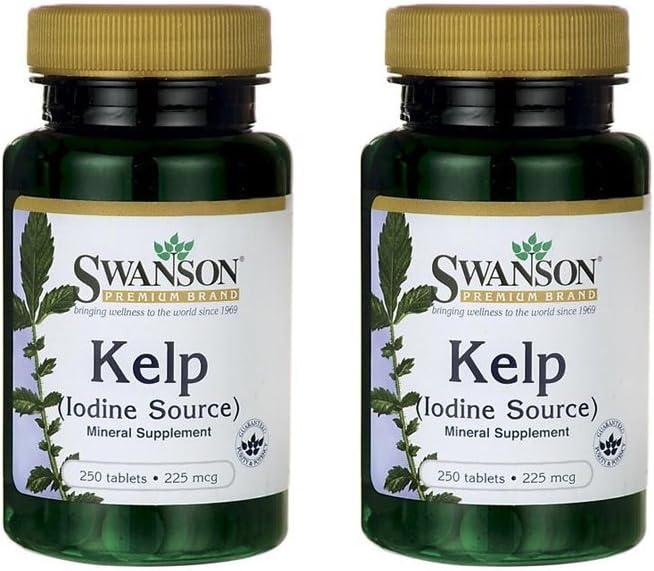 Swanson Kelp Iodine Source 225 mcg 250 Tabs 2 Pack