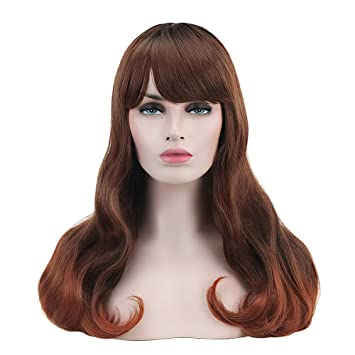 37b1e283 Miss Elegant Long Ombre Brown Wig with Inclined Bangs for Women Black Roots  Wavy Curly Hair