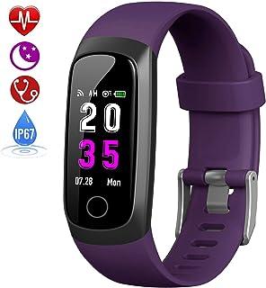 HETP Fitness Armband mit Pulsmesser, Fitness Tracker Uhr Blutdruckmesser Wasserdicht IP67 Schrittzähler Uhr Stoppuhr Sport GPS Aktivitätstracker Schlafüberwachung Anruf SMS für Kinder Damen Männer