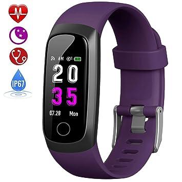 HETP Pulsera de Actividad Inteligente, Reloj Inteligente Hombre Mujer con Pulsómetro y Presión Arterial Reloj Deportivo Podómetro GPS Impermeable IP67 ...