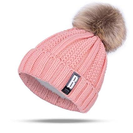 DFKHNOE Gorros Nuevo Pom Poms Sombrero de Invierno para Las Mujeres Moda Sólido Caliente Sombreros Gorros. Pasa el ratón por ...