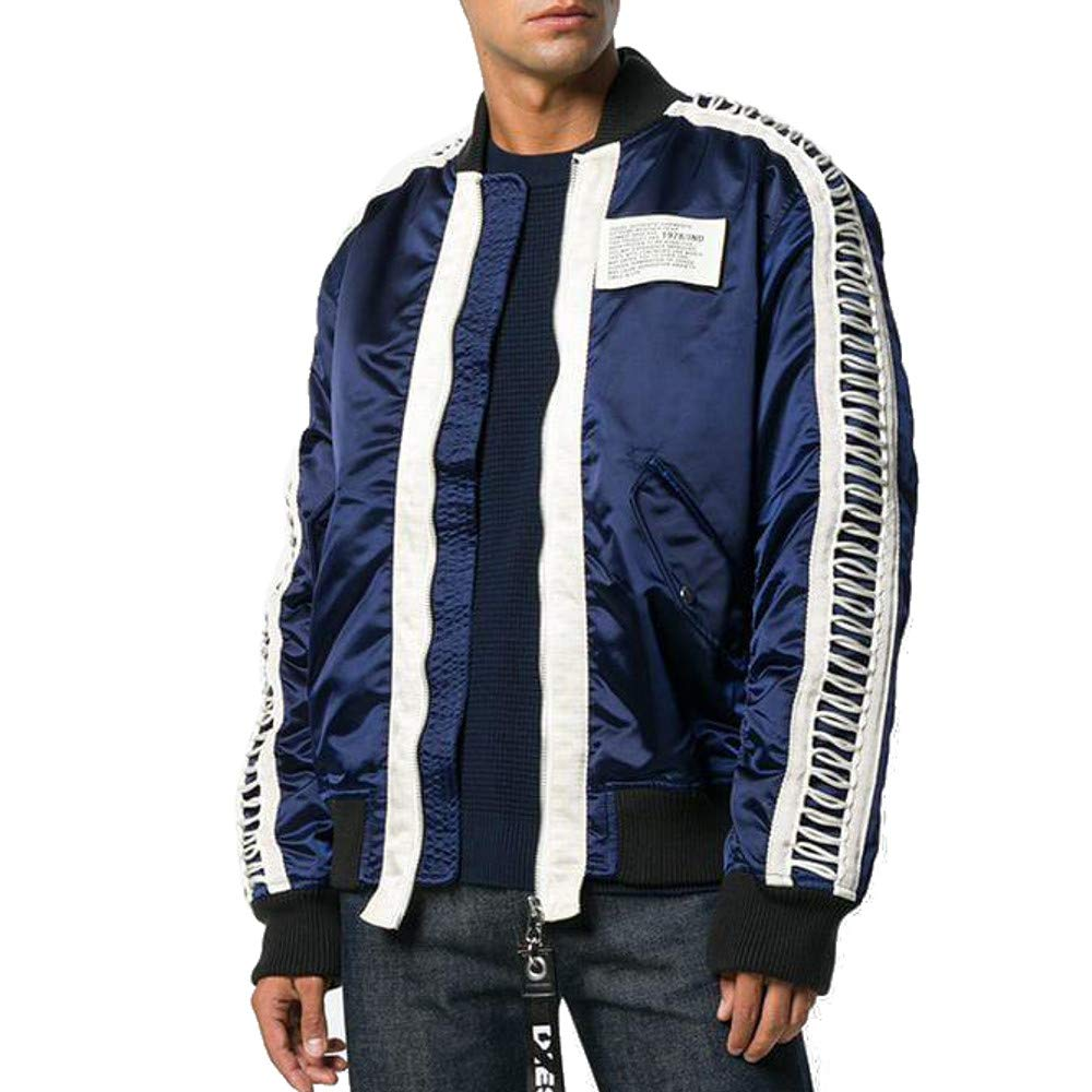 9d0c35958 Amazon.com: Diesel Ribbed Sleeve J-Early Bomber Jacket, Peacoat Blue ...