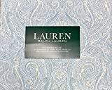 Ralph Lauren 4 Piece Queen Sheet Set - Navy Blue, Olive Green, Beige Floral Paisley on White, 100% Cotton