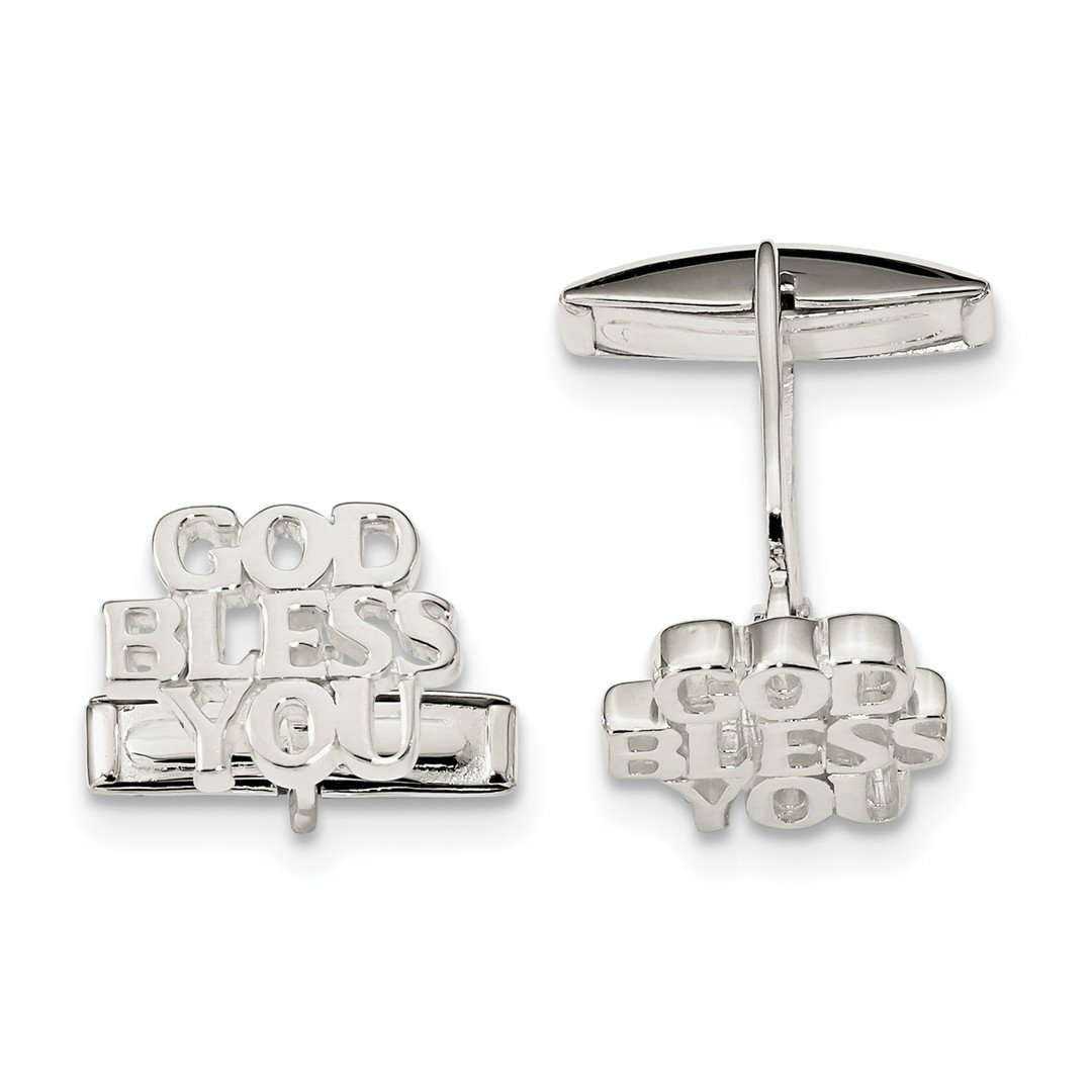 ICE CARATS 925 Sterling Silver God Bless You Cuff Links Mens Cufflinks Link Fine Jewelry Dad Mens Gift Set