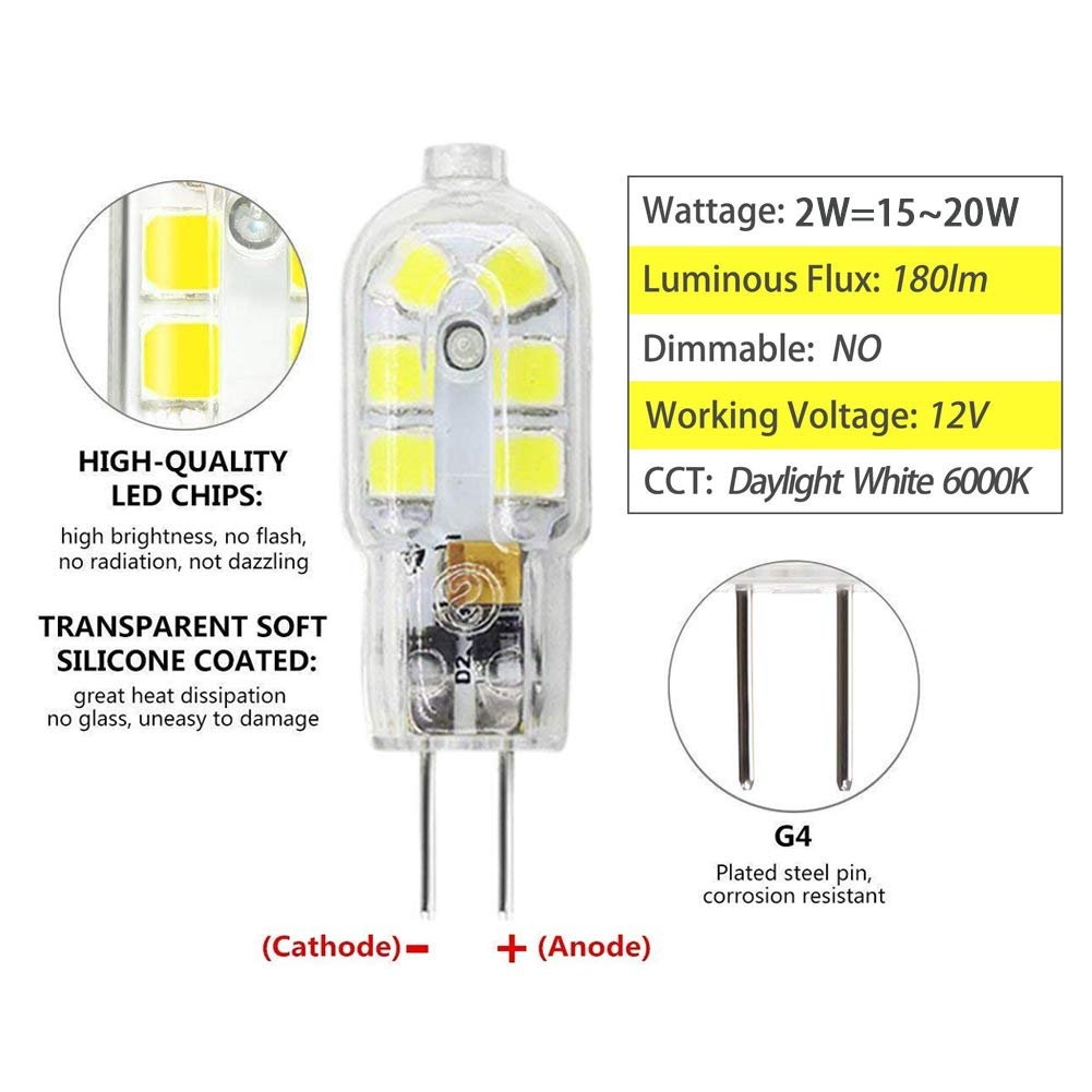 AC//DC 12V Not-Dimmable Daylight White 6000K G4 Light Bulb T3 JC Type Bi-Pin G4 Base G4 LED Bulb Mini 2W Equivalent to 15W-20W G4 Halogen Bulb Replacement 12 Pack
