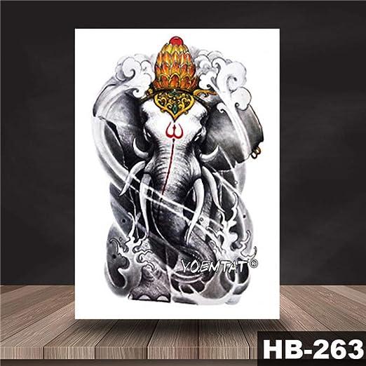 tzxdbh 3Pcs-Indian Ganesha Lotus Etiqueta engomada del Tatuaje a ...