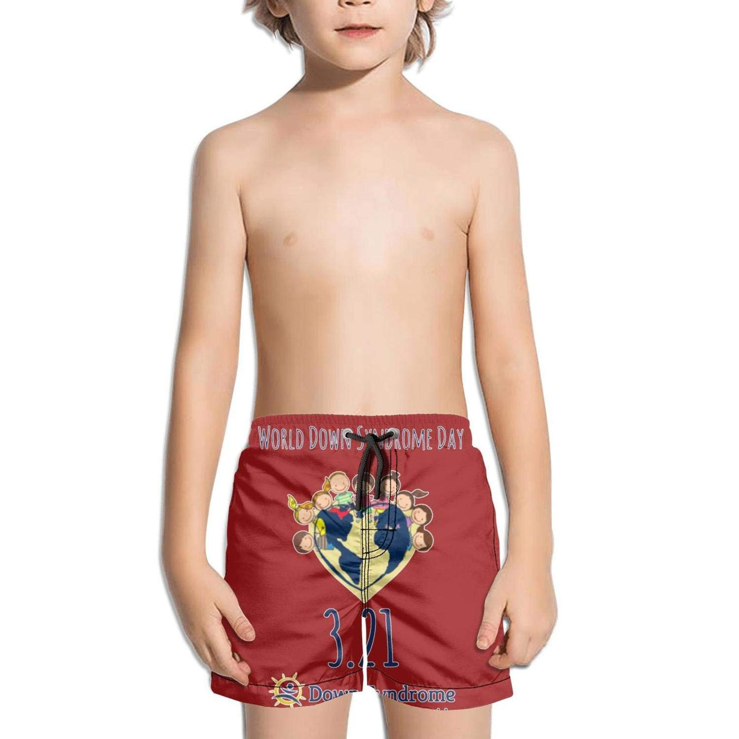World Down Syndrome Day Earth Kids Side Split Solid String Swim Shorts