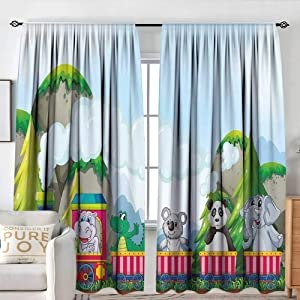 "NUOMANAN Curtains for Living Room Kids,Various Animals Riding on Train in The Park with Mountains Cartoon Style Illustration,Multicolor,Darkening and Thermal Insulating Draperies 54""x72"""