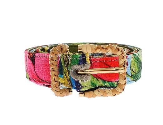 Dolce   Gabbana - Tissu imprimé floral Doré Boucle Logo Ceinture ... 8e644e2c3cc