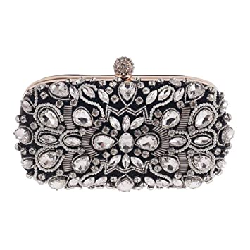 Yhjklm Bolso de Noche de Embrague Las Mujeres embragues Crystal Evening Bag Clutch Purse Bags Ocasiones Especiales Evening Evening Handbags (Color : Negro): ...