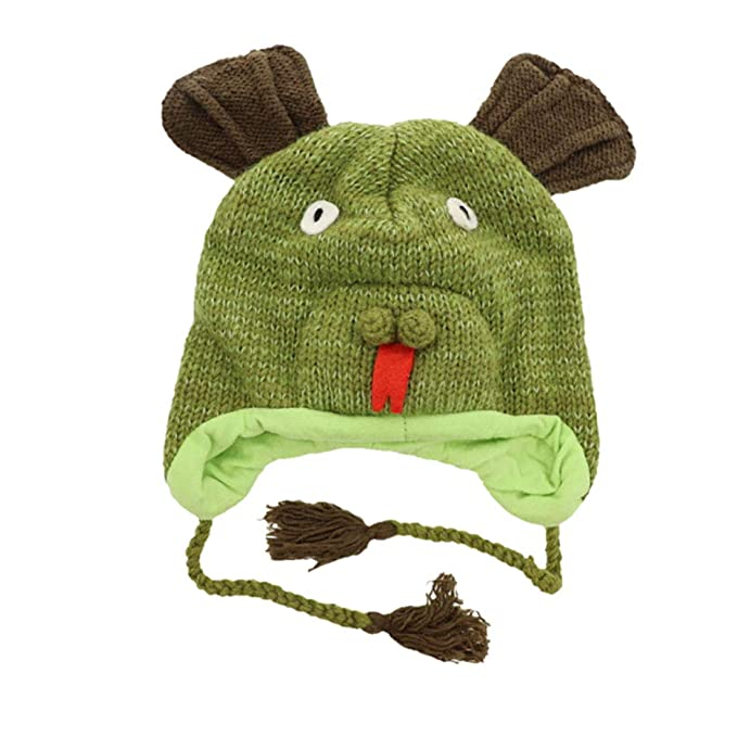 96efa6a711e Wool Fleece Lined Trapper Beanie Cap Animal Hat for Kids - Big Salamander