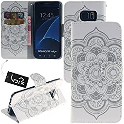 Galaxy S7edge Case, Urvoix(TM) Card Holder Stand Leather Wallet Case - White Flower Flip Cover for G935 Samsung Galaxy S7 edge
