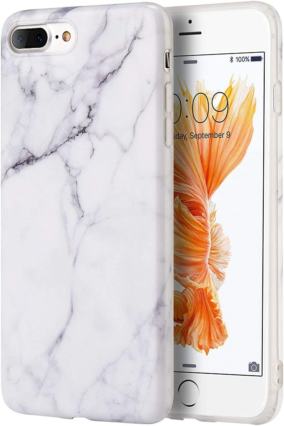 "Insten [Marble Design] Ultra Slim Case, Lightwight Anti Slip Soft TPU Rubber Candy Skin Gel Silicone, Protective Phone Case Cover Compatible with Apple iPhone 8 Plus/7 Plus(5.5""), White"