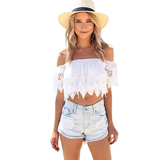 5a9957c4af9494 Toraway Blouses, Women Boho Sexy Lace Off Shoulder Crop Shirt Tops (Small)  White