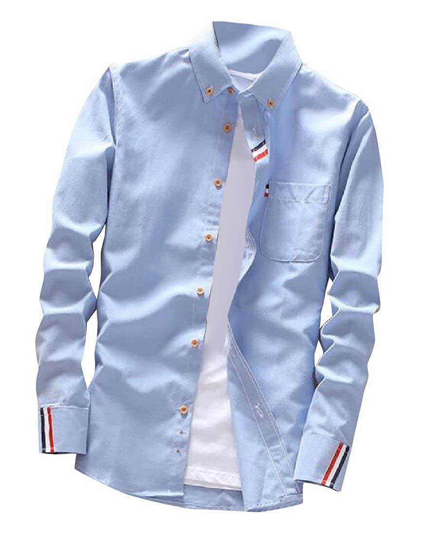YUNY Mens Casual Slim Fit Long-Sleeve Solid Colored Turn-Down Collar Shirts AS4 XL