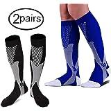 HTINXED 2 Pairs Graduated Compression Socks - Knee High, Unisex for Men & Women (20-30mmHg) Comfortable Design Ideal for Sports, Pregnancy, Flight & Travel, Nursing