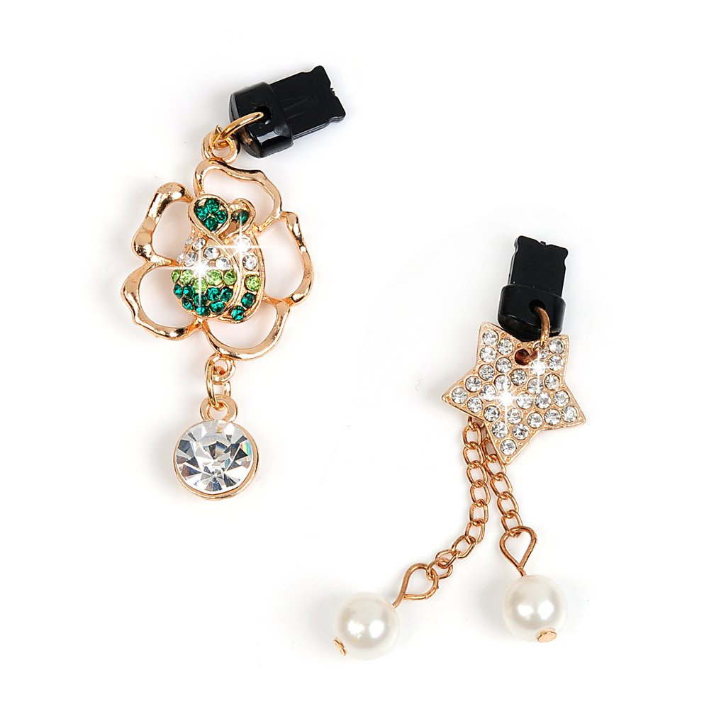 """Mavis's Diary 2 Pcs Bling Diamond Dust Plugs/Cell Charms/Date Cable Jack for iPhone 7 Plus,iPhone 6S Plus,iPhone SE 5.5"""" 4.7"""" 4.0"""" iPhone Charging Cable Jack - Green Rose&Pearl"""