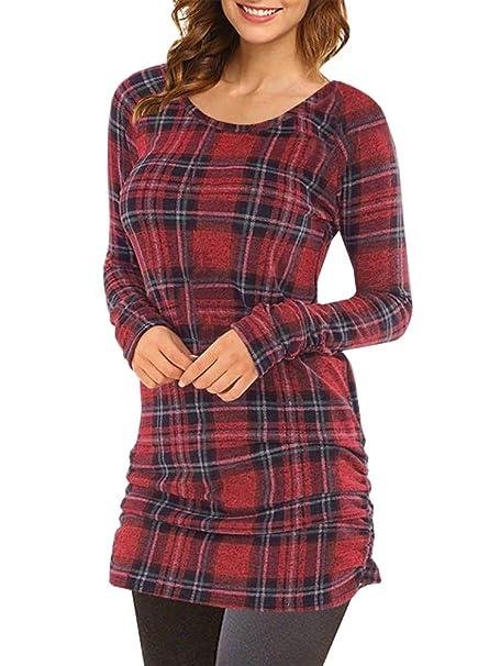 Amazon.com: De la Mujer Plaid túnicas Tops cuello redondo ...