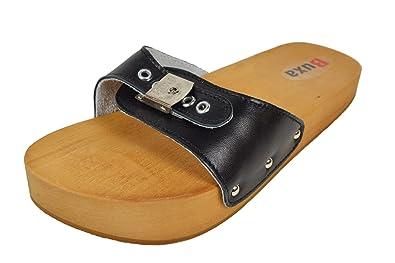 Buxa Damen Rot Anti-Cellulite und Rückenschmerzen Holz und Leder Sandalen/Clogs, Größe 36