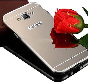 Sunroyal ® para Samsung Galaxy J5 SM-J500F (2015) Funda Lujo Aluminio Duro Híbrido Ultra-delgado Espejo Trasero Caso Bumper Cubierta Piel Aluminio ...