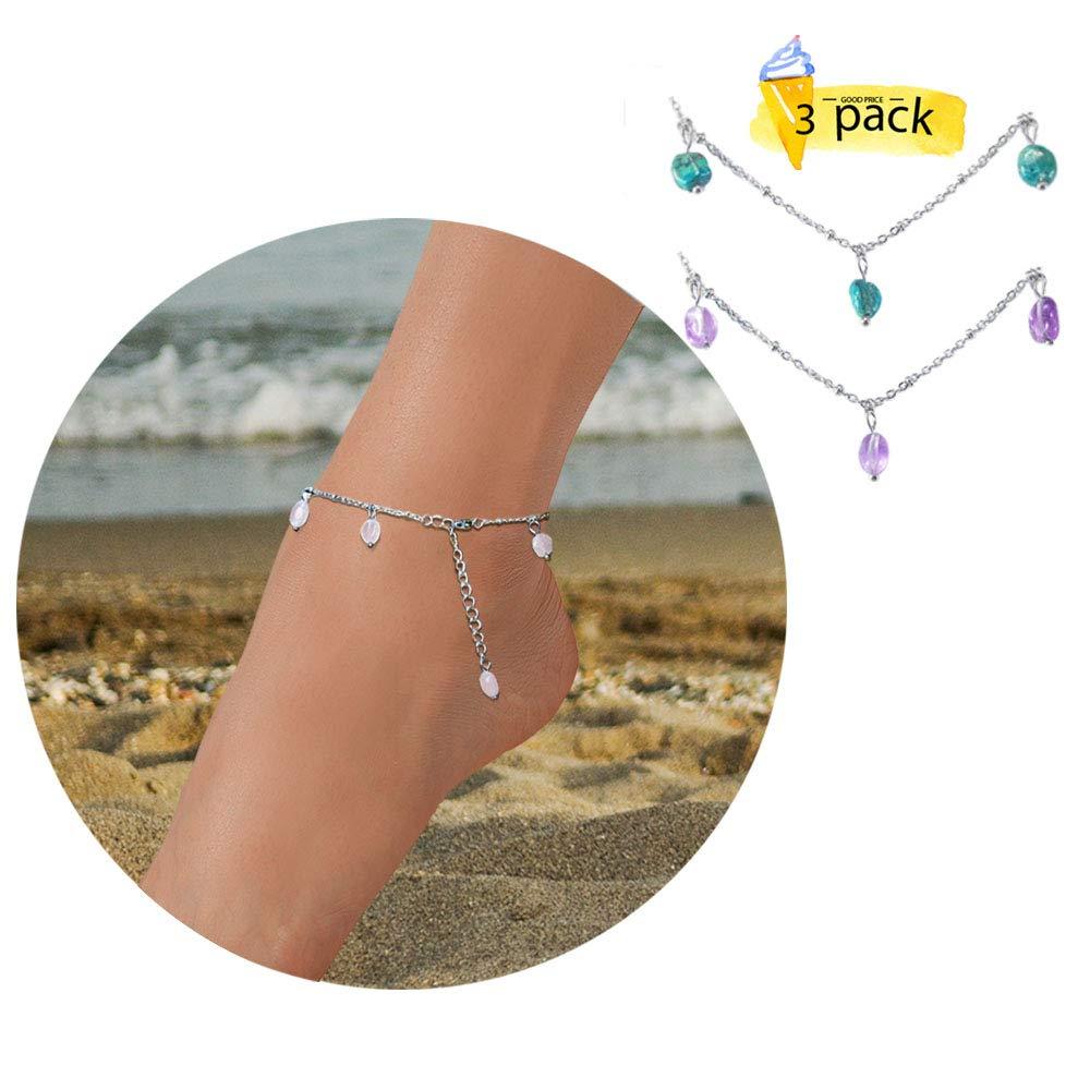 Natural Gemstone Teen Girls Anklet Bracelets for Women Boho Beach Handmade Foot Jewelry Set Cute Adjustable
