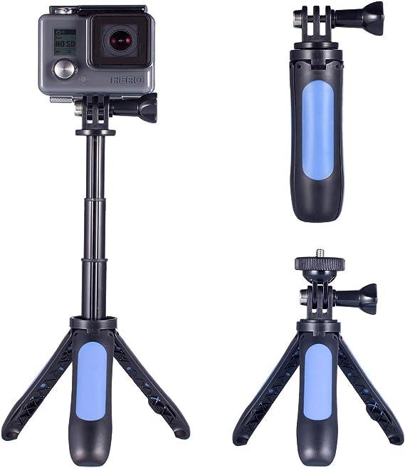 Homeet Mini Trípode para Cámara de Acción, 2-en 1 Palo Selfie con Trípode de Mesa Soporte para Cámara Deportiva Trípode Portátil Palo Extensión Ajustable para SJCAM/YI 4K/ Apeman y etc (Azul): Amazon.es:
