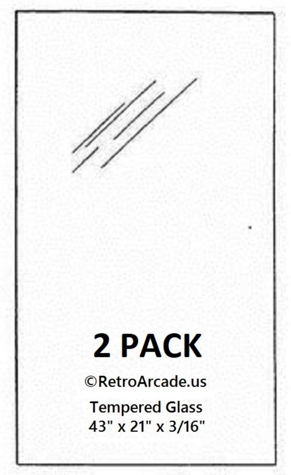 RetroArcade.us ra-pinball-glass-21-2pk 2 Pack Replacement Pinball top Glass 21 x 43 x 0.185 inch, fits Williams, Stern, Bally, Midway, Game, Plan, Cap