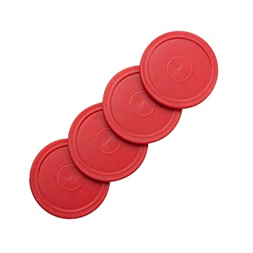 4 Small Air Red Round Table Hockey Pucks.