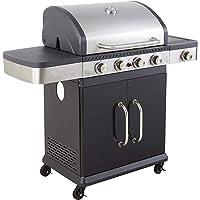 Cook'in Garden - Barbecue au gaz FIDGI 4 avec thermomètre - 4 brûleurs + réchaud 13,3kW