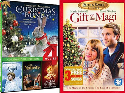Faith of the Season Spirit Holiday Films Christmas Bunny, Littlest Angel, The Nativity, A Child is Born & Gift of the Magi DVD Family Bundle (Hearth Home Evergreen &)