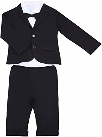 FEESHOW Baby Boys' 3Pcs Gentleman Formal Tuxedo Suit Top Shirt Coat with Pants Outfit Set