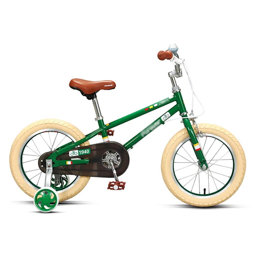 丈夫 子供の自転車自転車3-6-7-8-9歳の男の子と女の子のハンドブレーキ、制御の安全性 (色 : 緑, サイズ さいず : 16inch) 16inch 緑 B07RM4RJN3