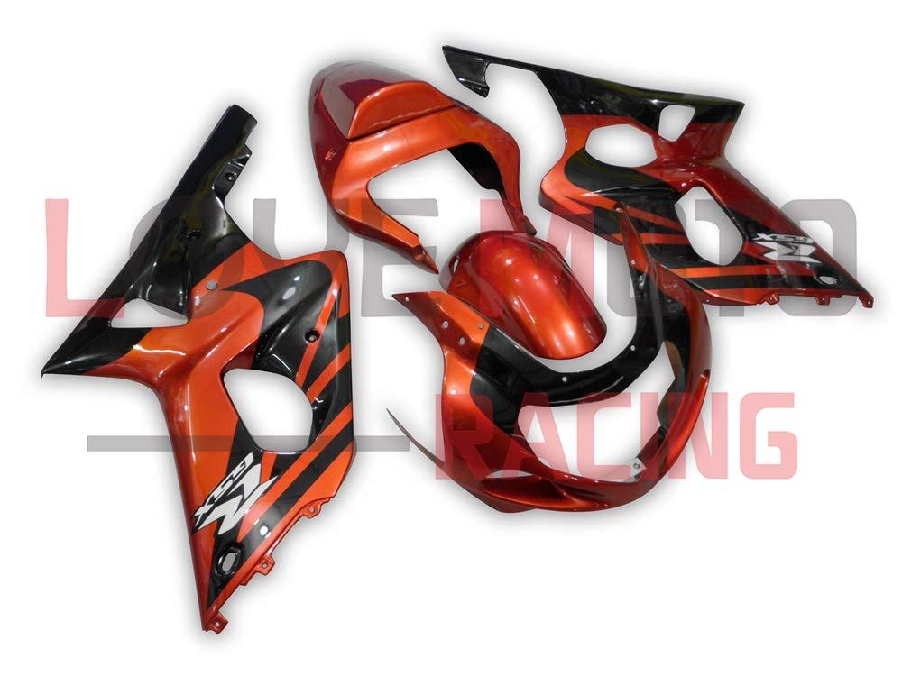 LoveMoto ブルー/イエローフェアリング スズキ suzuki GSX-R600 GSX-R750 2001 2002 2003 01 02 03 ABS射出成型プラスチックオートバイフェアリングセットのキット オレンジ ブラック   B07KF8BX9C
