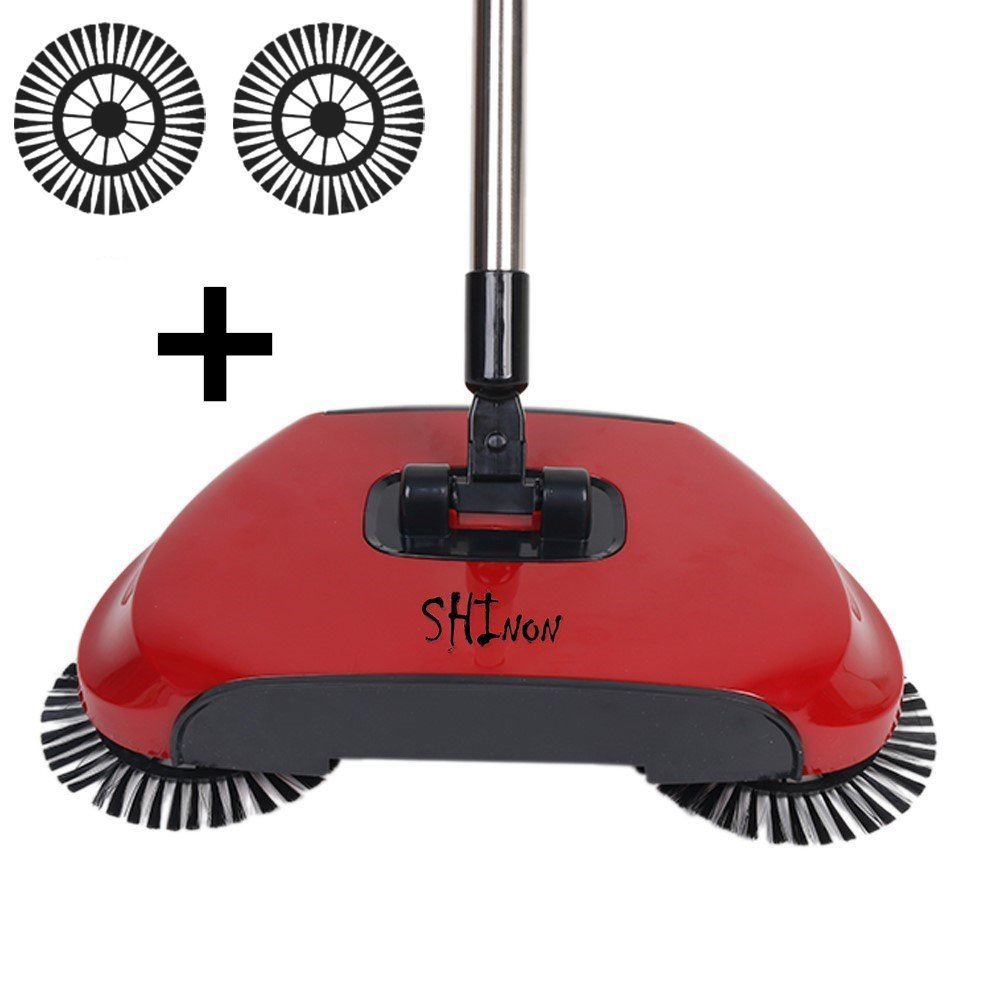 3 in 1 Household Lazy Automatic Hand Push Sweeper Broom 360 Degree Rotating Cleaning Machine Sweeping Tool Without Electricity Dustpan Trash Bin (Red) SHINENGkeji
