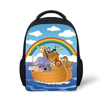 iPrint Kids School Backpack Noahs Ark,Cartoon Style Group Animals in Noahs  Ark Childish Cheering ddb5f96432