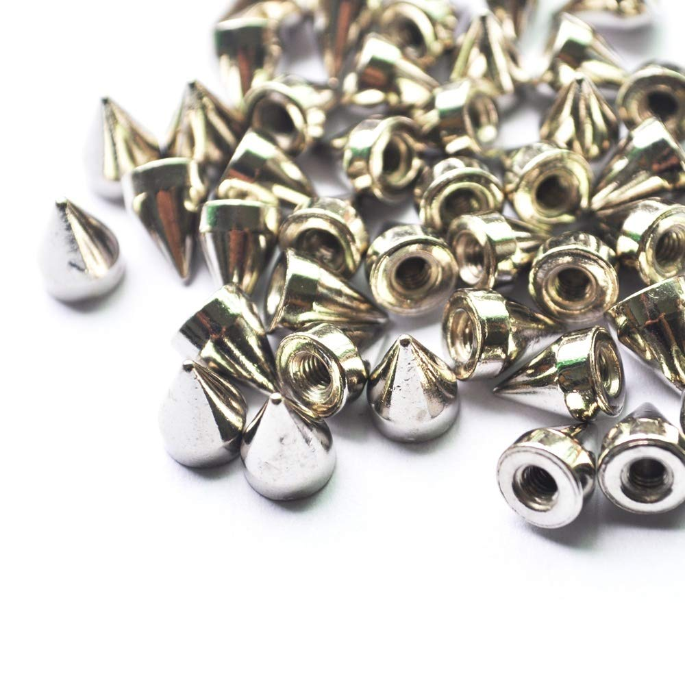 30 PCs Silver Rivets Cone Shape Spikes Screwback Studs Cool Punk Metal Fixing Tool Kit for Belts Jackets Leather Crafts and Repairing Decorating Product
