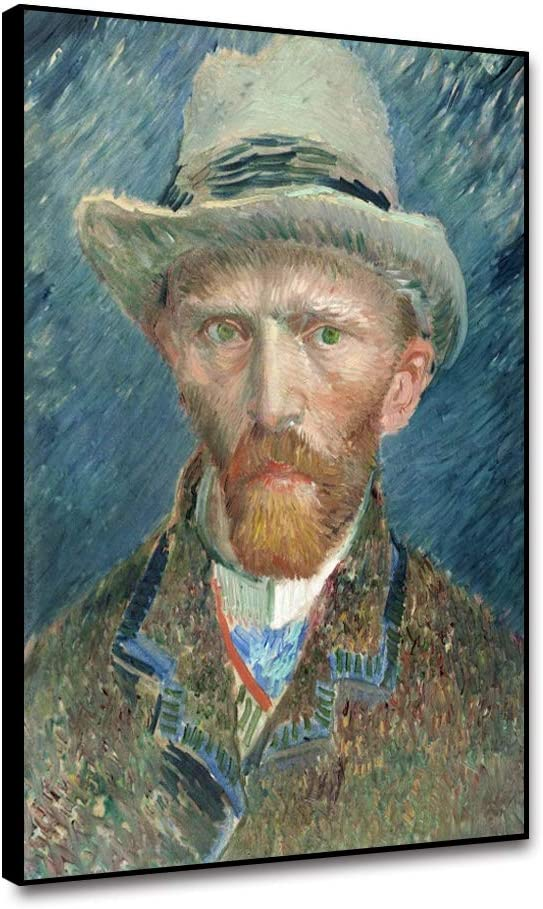Renaiss Framed Canvas Wall Art Vincent Van Gogh 1887 Self Portrait with Grey Felt Hat Famous Oil Painting Reproduction Wall Decor for Modern Home Living Room Wall Decoration Painting - 12x18 Inches