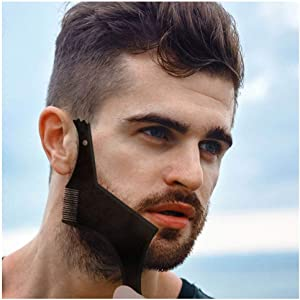 Beard Shaper Template Shaping Tool, NewChiChi Premium Quality Template Shaping for Goatee Mustache Sideburns Facial Hair Trimming Grooming Guide for Men Jaw Cheek Neck Line Symmetric Curve