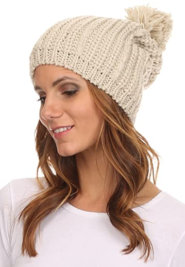 9565b6a9c3e Sakkas CHSS1545 - Lax Wide Unisex Cable Knit Large Pom Pom Bobble Beanie  Hat Cap - Brown - OS  Amazon.ca  Clothing   Accessories