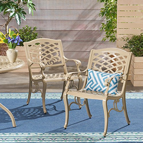 Christopher Knight Home 305654 TSA Outdoor Cast Aluminum Arm Chair Set of 2 , Sand